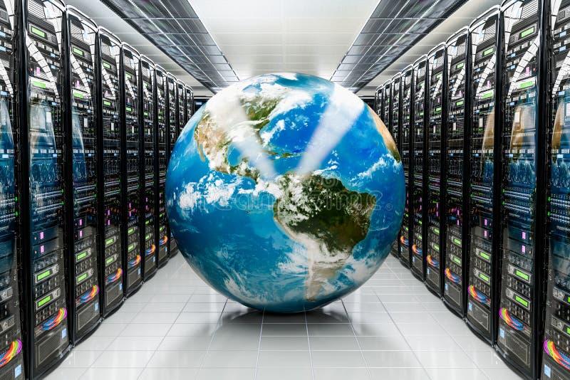 Γήινη σφαίρα μέσα στο κέντρο δεδομένων, δωμάτιο κεντρικών υπολογιστών Σφαιρική έννοια Διαδικτύου, τρισδιάστατη απόδοση διανυσματική απεικόνιση