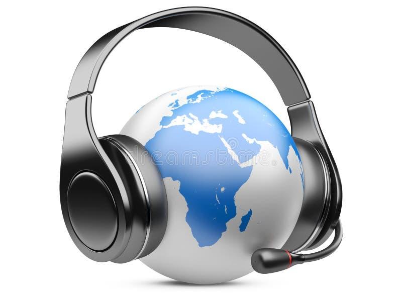 Γήινη σφαίρα με τα ακουστικά και το μικρόφωνο ελεύθερη απεικόνιση δικαιώματος