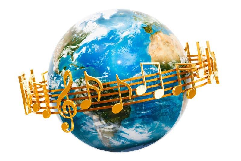Γήινη σφαίρα με τις μουσικές νότες γύρω, τρισδιάστατη απόδοση ελεύθερη απεικόνιση δικαιώματος