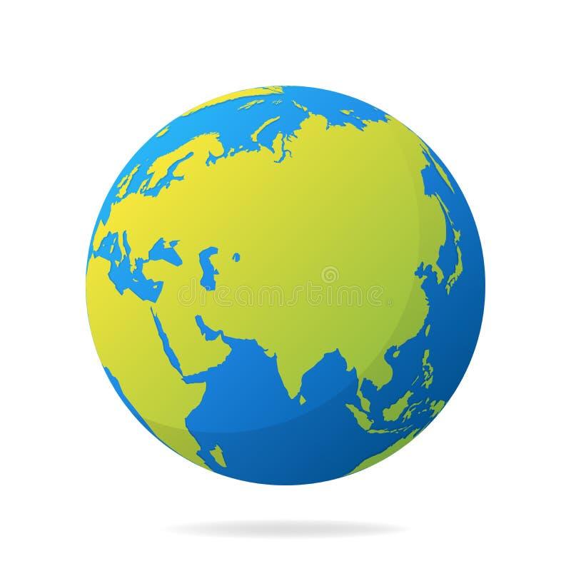 Γήινη σφαίρα με τις πράσινες ηπείρους Σύγχρονη τρισδιάστατη έννοια παγκόσμιων χαρτών Διανυσματική απεικόνιση σφαιρών παγκόσμιων χ απεικόνιση αποθεμάτων