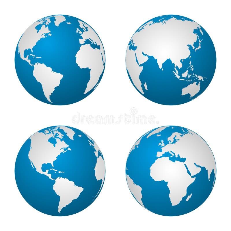 Γήινη σφαίρα που περιστρέφεται σε τέσσερα διαφορετικά στάδια επίσης corel σύρετε το διάνυσμα απεικόνισης ελεύθερη απεικόνιση δικαιώματος