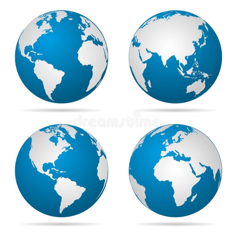Γήινη σφαίρα που περιστρέφεται σε τέσσερα διαφορετικά στάδια με τη σκιά επίσης corel σύρετε το διάνυσμα απεικόνισης ελεύθερη απεικόνιση δικαιώματος