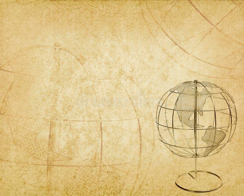 Γήινη σφαίρα σε παλαιό παλαιό εκλεκτής ποιότητας χαρτί ελεύθερη απεικόνιση δικαιώματος