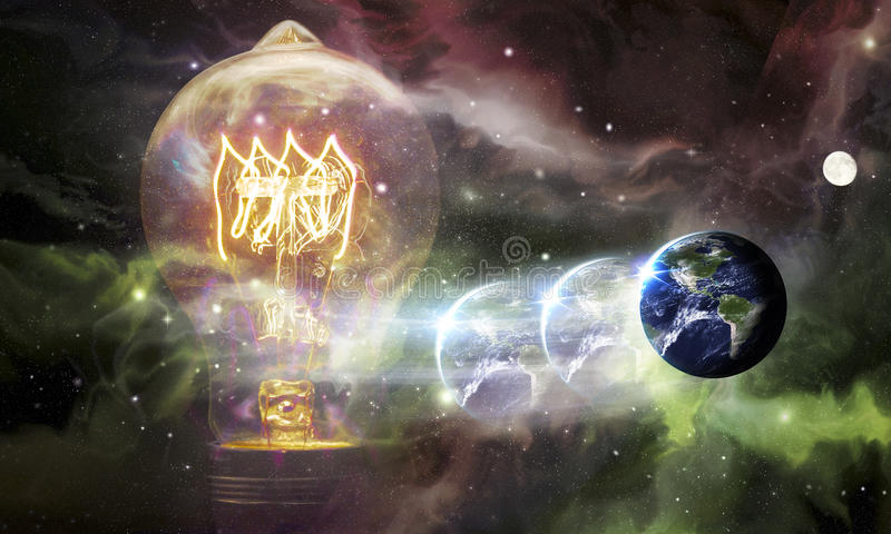 Γήινος γαλαξίας λαμπών φωτός διανυσματική απεικόνιση