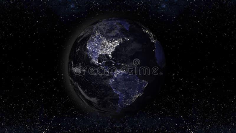 Γήινος πλανήτης τη νύχτα με τις αστικές περιοχές φω'των, illu άποψης της Αμερικής διανυσματική απεικόνιση