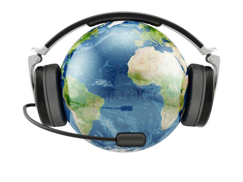 Γήινος πλανήτης με τα ακουστικά διανυσματική απεικόνιση