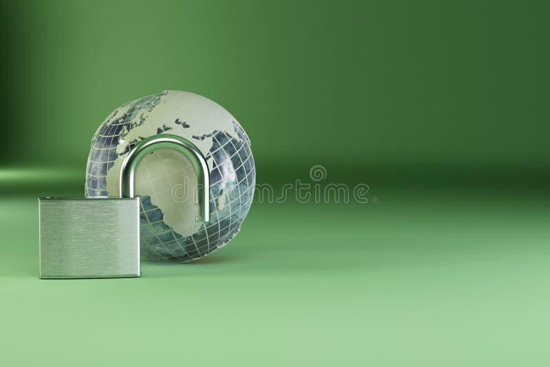 γήινο πράσινο λουκέτο αν&alph απεικόνιση αποθεμάτων