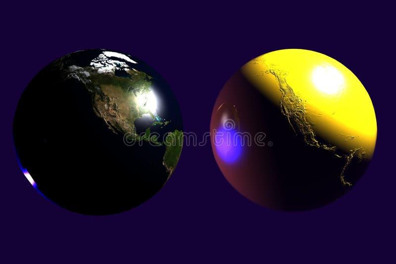 γήινο χρυσό σαφές δίδυμο ελεύθερη απεικόνιση δικαιώματος