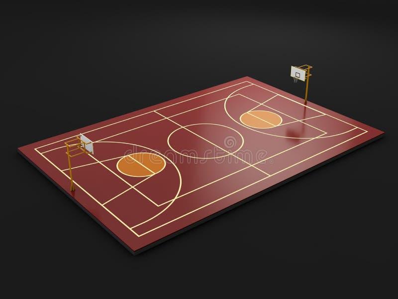 γήπεδο μπάσκετ, ο υπαίθριος, τρισδιάστατος απομονωμένος απεικόνιση Μαύρος βασικών γραμμών ελεύθερη απεικόνιση δικαιώματος