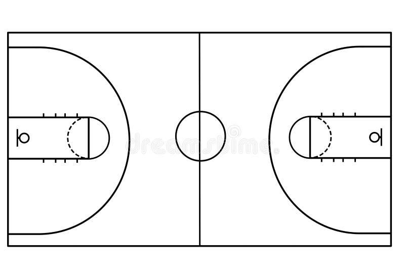 Γήπεδο μπάσκετ στο άσπρο υπόβαθρο ελεύθερη απεικόνιση δικαιώματος