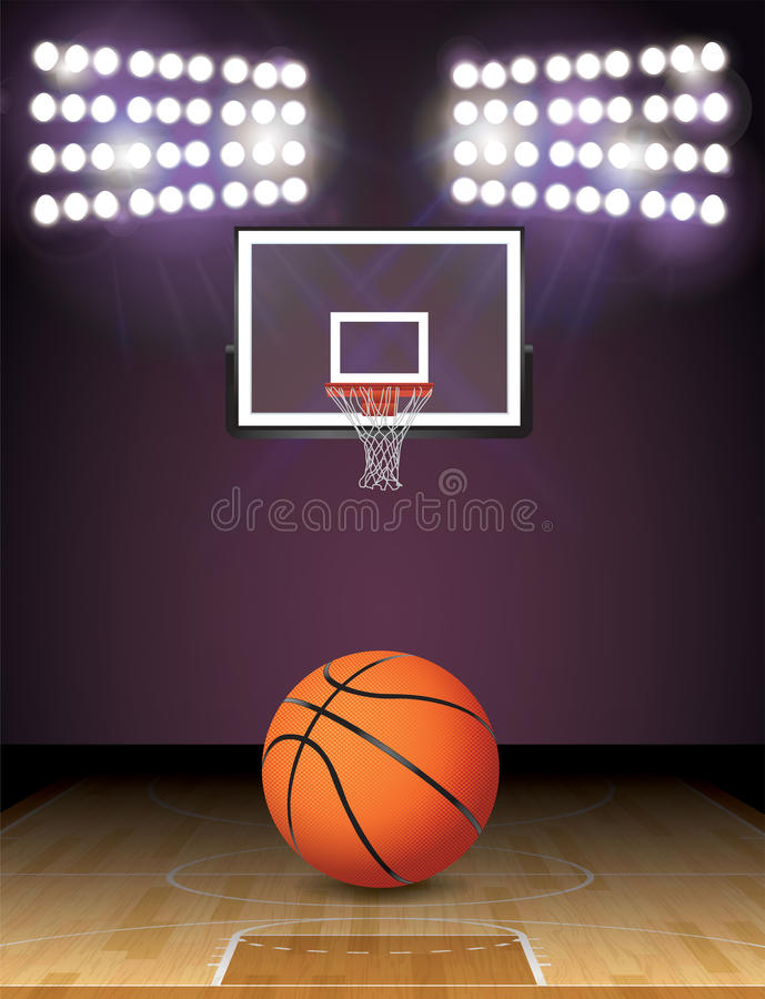 Γήπεδο μπάσκετ και σφαιρών και στεφανών φω'των απεικόνιση διανυσματική απεικόνιση