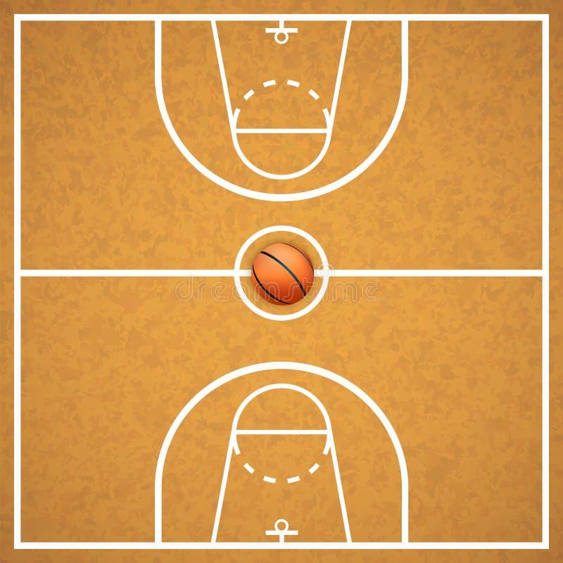 Γήπεδο μπάσκετ με μια σφαίρα ελεύθερη απεικόνιση δικαιώματος