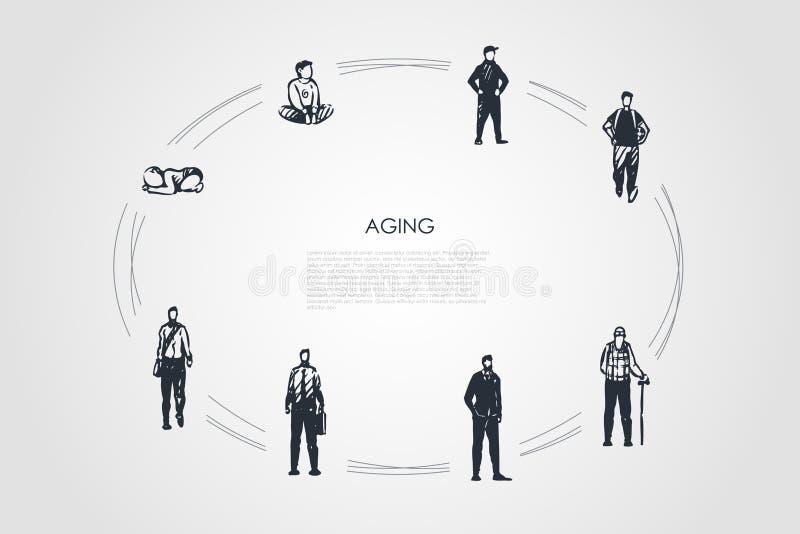 Γήρανση - τα διαφορετικά στάδια του ατόμου γερνούν από το infance, αγόρι παιδικής ηλικίας στο ενήλικο και παλαιό σύνολο έννοιας α απεικόνιση αποθεμάτων