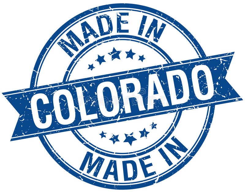 Γίνοντας στο μπλε στρογγυλό γραμματόσημο του Κολοράντο ελεύθερη απεικόνιση δικαιώματος