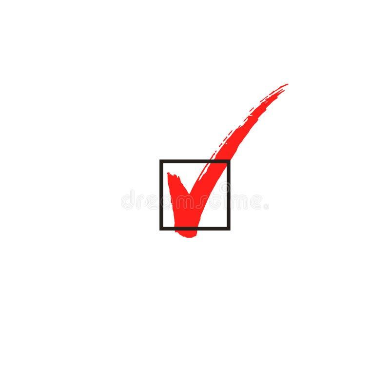 Γίνοντα, το σημάδι ελέγχου σημειώνει το σύμβολο κιβωτίων και την καλλιγραφία, διάνυσμα άρρωστο ελεύθερη απεικόνιση δικαιώματος