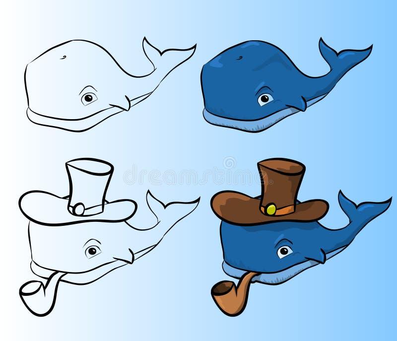 Γαλάζια φάλαινα με έναν σωλήνα στοκ φωτογραφία με δικαίωμα ελεύθερης χρήσης