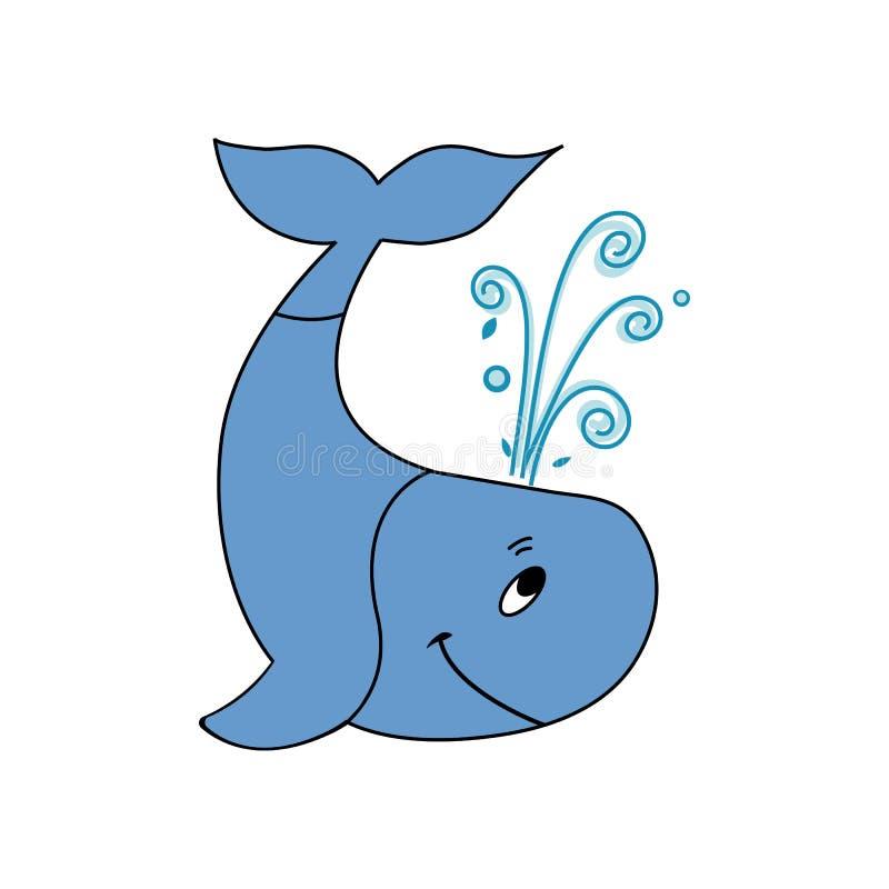 Γαλάζια φάλαινα που απομονώνεται στο άσπρο υπόβαθρο διανυσματική απεικόνιση