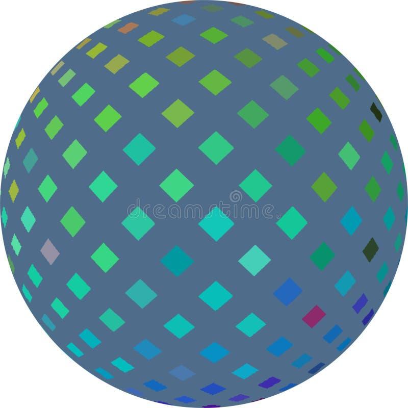 Γαλαζοπράσινος ολογραφικός τρισδιάστατος γραφικός σφαιρών μωσαϊκών που απομονώνεται διανυσματική απεικόνιση
