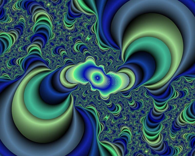 Γαλαζοπράσινο λαμπιρίζοντας φωτεινό fractal αφηρημένο υπόβαθρο, flowery σύσταση ελεύθερη απεικόνιση δικαιώματος