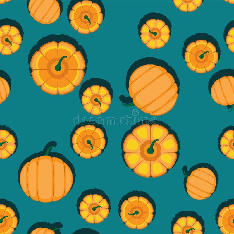Γαλαζοπράσινο υπόβαθρο κολοκυθών φθινοπώρου πορτοκαλί E Απεικόνιση αποκριών Οργανικό λαχανικό συγκομιδών Οκτωβρίου διανυσματική απεικόνιση