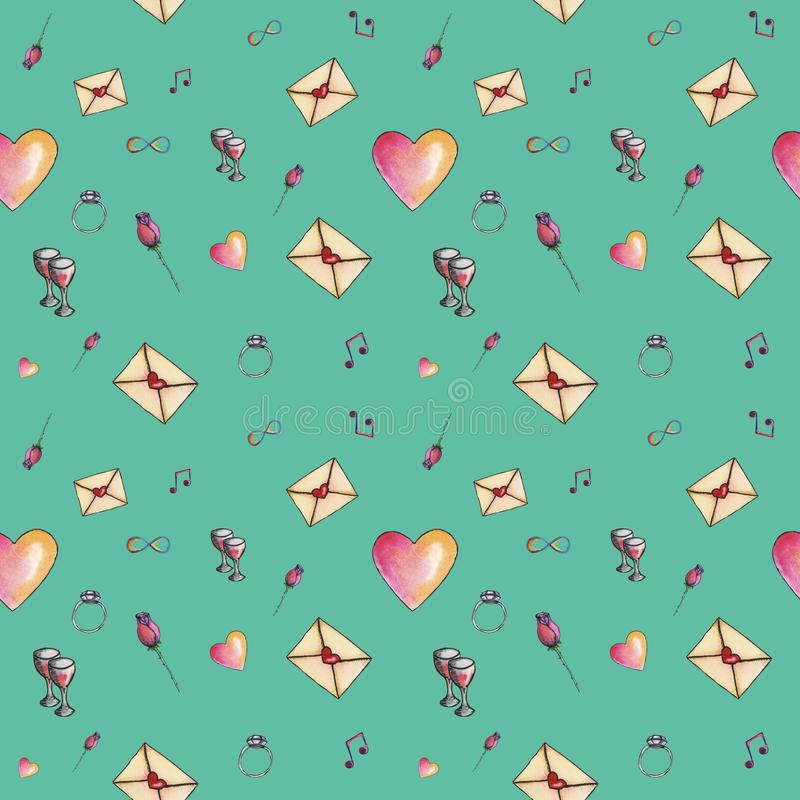 Γαλαζοπράσινο χαριτωμένο σχέδιο βαλεντίνων κινούμενων σχεδίων στοκ εικόνες