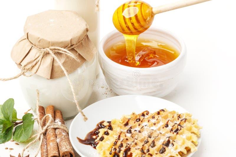 Γαλακτοκομικά προϊόντα με το γλυκάνισο και την κανέλα σε ένα άσπρο υπόβαθρο Υγιής κατανάλωση   στοκ εικόνες με δικαίωμα ελεύθερης χρήσης
