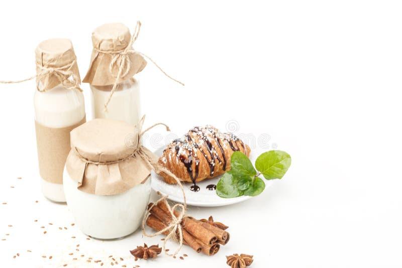 Γαλακτοκομικά προϊόντα με το γλυκάνισο και την κανέλα σε ένα άσπρο υπόβαθρο κατανάλωση υγιής απομονωμένος στοκ εικόνα με δικαίωμα ελεύθερης χρήσης