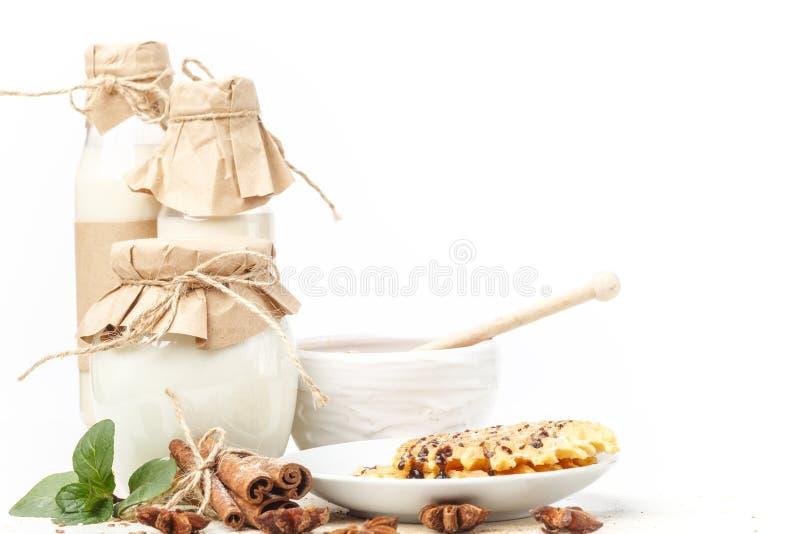 Γαλακτοκομικά προϊόντα με το γλυκάνισο και την κανέλα σε ένα άσπρο υπόβαθρο κατανάλωση υγιής απομονωμένος στοκ εικόνες