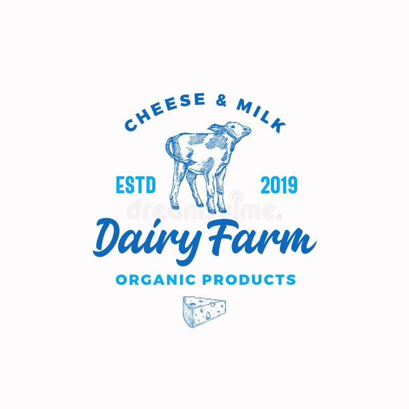 Γαλακτοκομικό αγρόκτημα τυριών και γάλακτος Αφηρημένο διανυσματικό πρότυπο σημαδιών, συμβόλων ή λογότυπων Συρμένοι χέρι μόσχος κα απεικόνιση αποθεμάτων