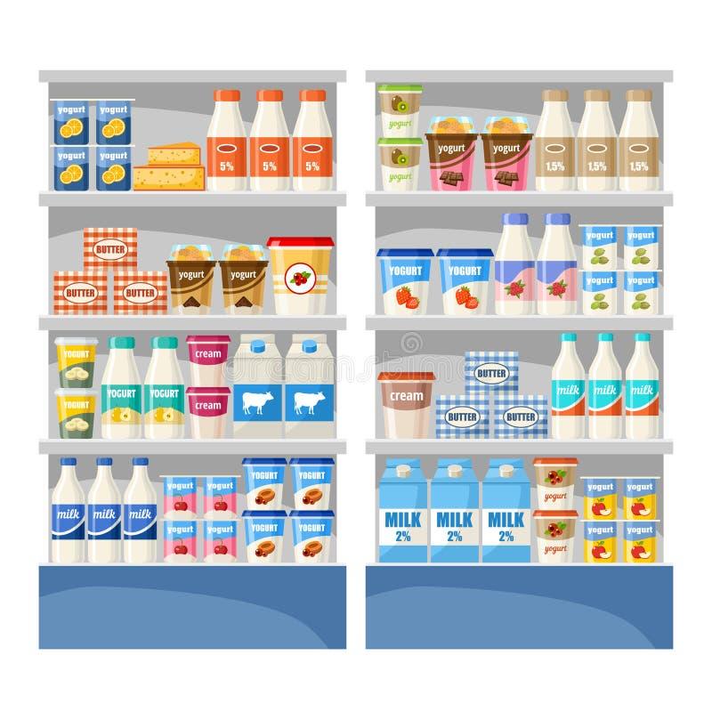 Γαλακτοκομικό κατάστημα Υπεραγορά διανυσματική απεικόνιση