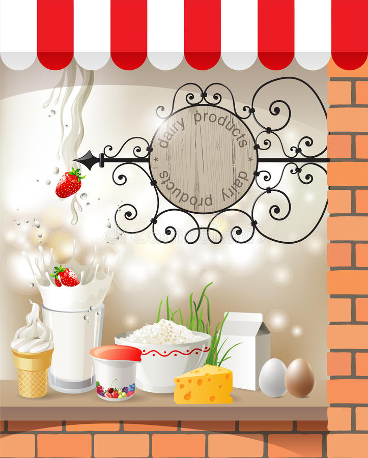 Γαλακτοκομικό κατάστημα απεικόνιση αποθεμάτων