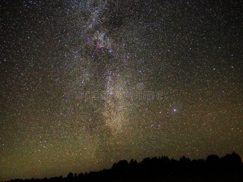 Γαλακτώδεις αστερισμός του Κύκνου αστεριών τρόπων και παρατήρηση αστερισμού λιρετών στοκ εικόνες με δικαίωμα ελεύθερης χρήσης