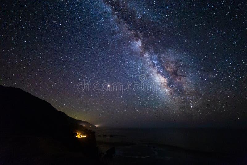 Γαλακτώδεις γαλαξίας και νυχτερινός ουρανός τρόπων με τα αστέρια στοκ εικόνα με δικαίωμα ελεύθερης χρήσης