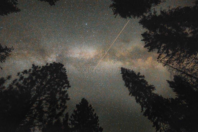 Γαλακτώδης γαλαξίας τρόπων και έναστρος νυχτερινός ουρανός με το αστέρι πυροβολισμού στοκ φωτογραφίες