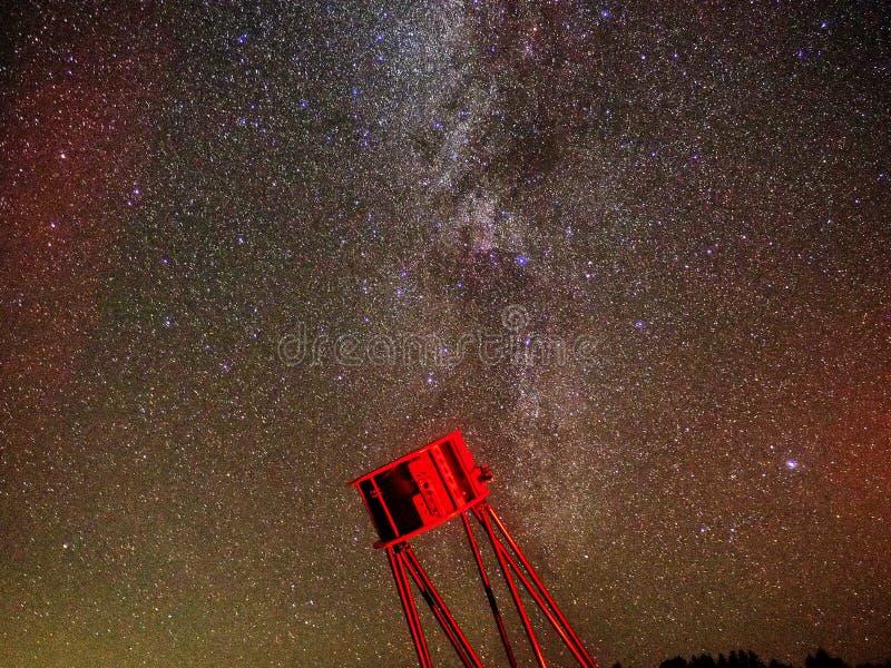 Γαλακτώδης παρατήρηση αστερισμού αστερισμού του Κύκνου αστεριών τρόπων στοκ εικόνα