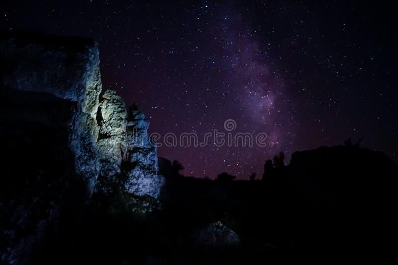 Γαλακτώδης τρόπος πέρα από τα βουνά στοκ φωτογραφία με δικαίωμα ελεύθερης χρήσης
