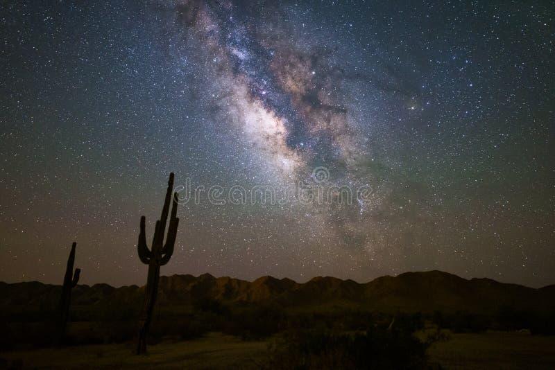 Γαλακτώδης τρόπος στο νυχτερινό ουρανό στοκ εικόνες