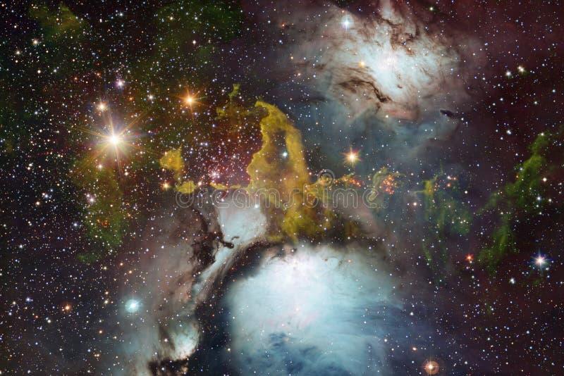 Γαλαξίας, starfield, νεφελώματα, συστάδα των αστεριών στο βαθύ διάστημα Τέχνη επιστημονικής φαντασίας στοκ φωτογραφία