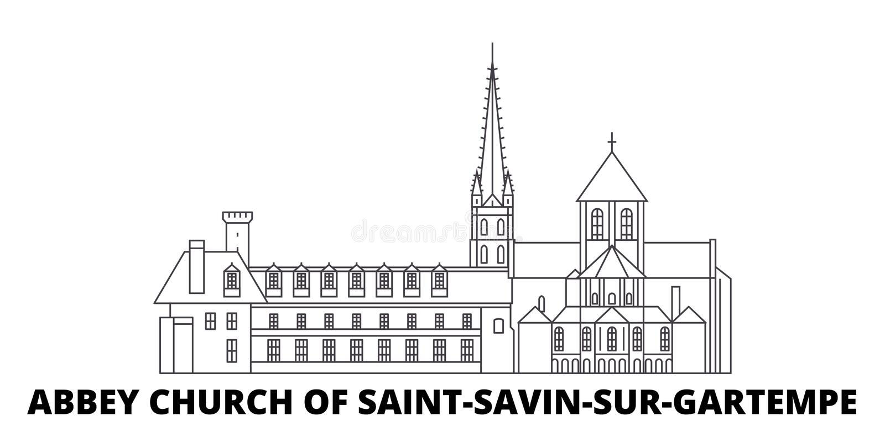 Γαλλία, εκκλησία αβαείων του συνόλου οριζόντων ταξιδιού γραμμών ορόσημων του Saint-Savin-sur-Gartempe Γαλλία, εκκλησία αβαείων Αγ απεικόνιση αποθεμάτων