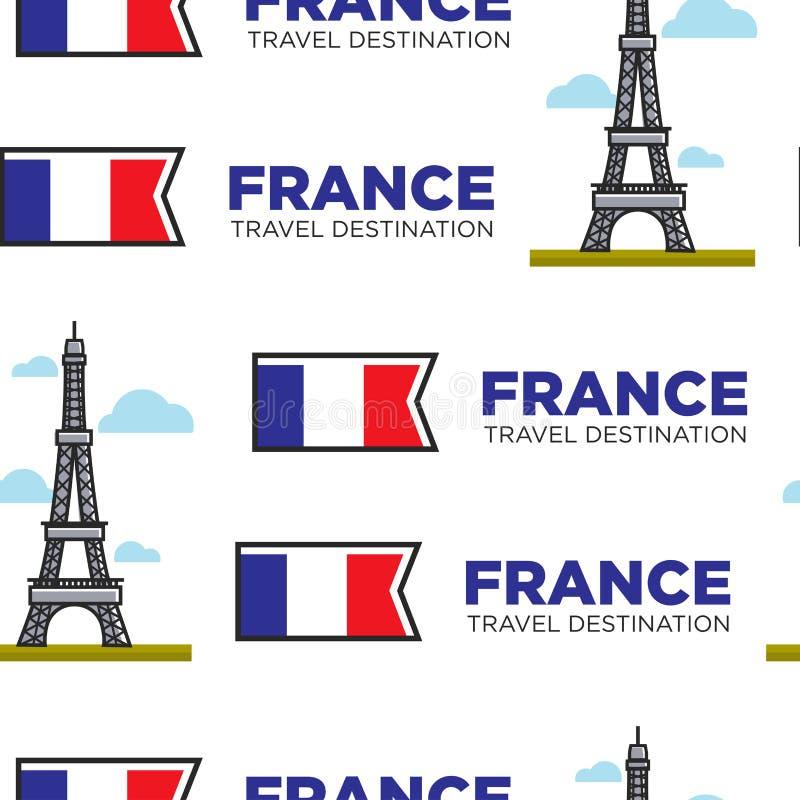 Γαλλία που ταξιδεύει τον πύργο του Άιφελ και το γαλλικό άνευ ραφής σχέδιο σημαιών ελεύθερη απεικόνιση δικαιώματος