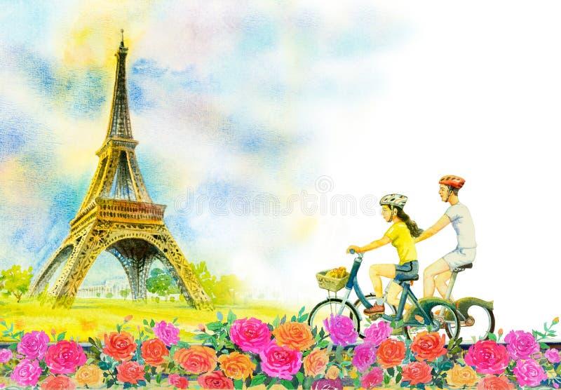 Γαλλία, πύργος του Άιφελ και άνδρας αγάπης ζευγών, γυναίκα διανυσματική απεικόνιση