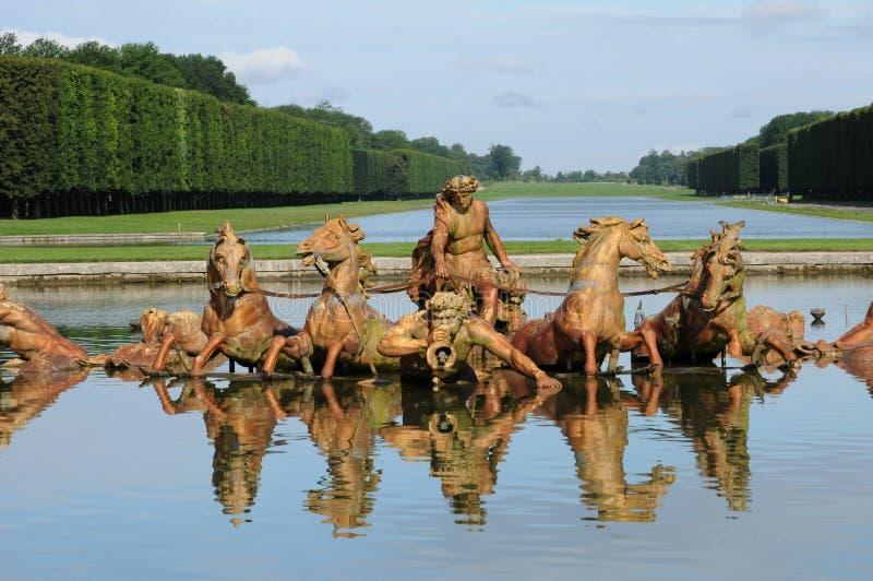 Γαλλία, Bassin du Char δ Apollon στο πάρκο των Βερσαλλιών palac στοκ εικόνες με δικαίωμα ελεύθερης χρήσης
