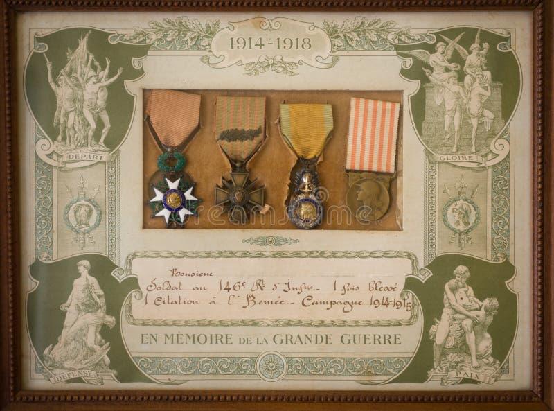 Γαλλικά μετάλλια WW 1 στοκ φωτογραφίες με δικαίωμα ελεύθερης χρήσης