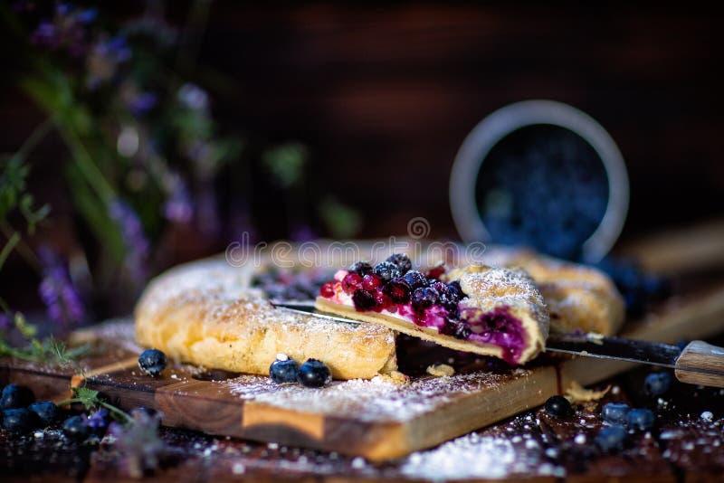 Γαλλική πίτα Galette Αγροτικό ύφος Πλάγια όψη στο τμήμα στοκ εικόνα