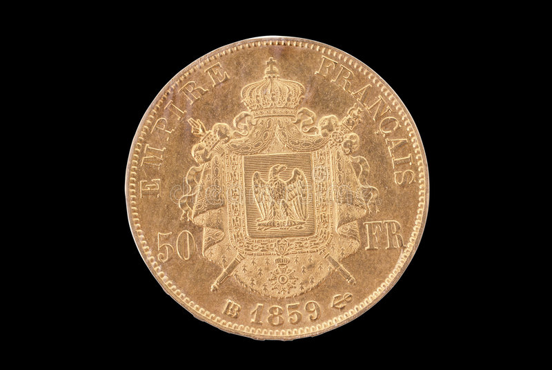 γαλλική χρυσή αντιστροφή 50 αρχαία φράγκων νομισμάτων στοκ φωτογραφία με δικαίωμα ελεύθερης χρήσης