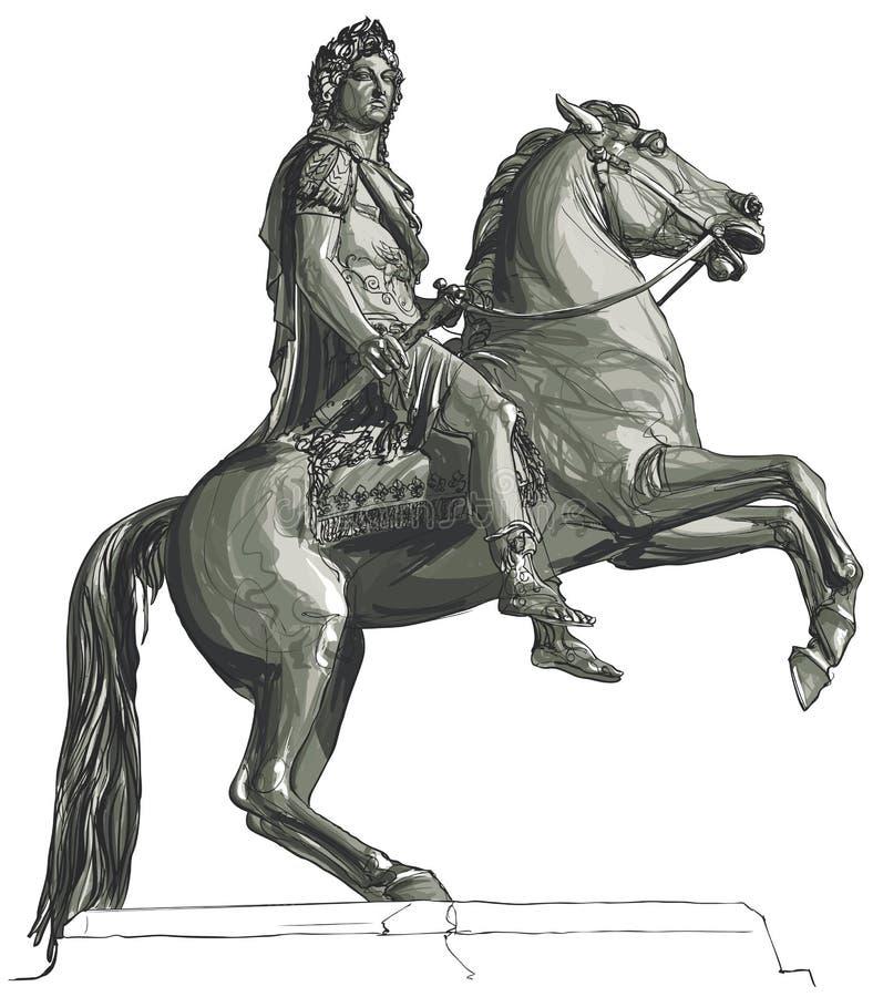 Γαλλικός βασιλιάς Louis XIV ιππικό άγαλμα διανυσματική απεικόνιση