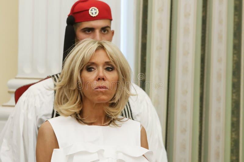 Γαλλικός Πρόεδρος Emmanuel Macron με τη σύζυγό του Brigitte Tronier στοκ εικόνες