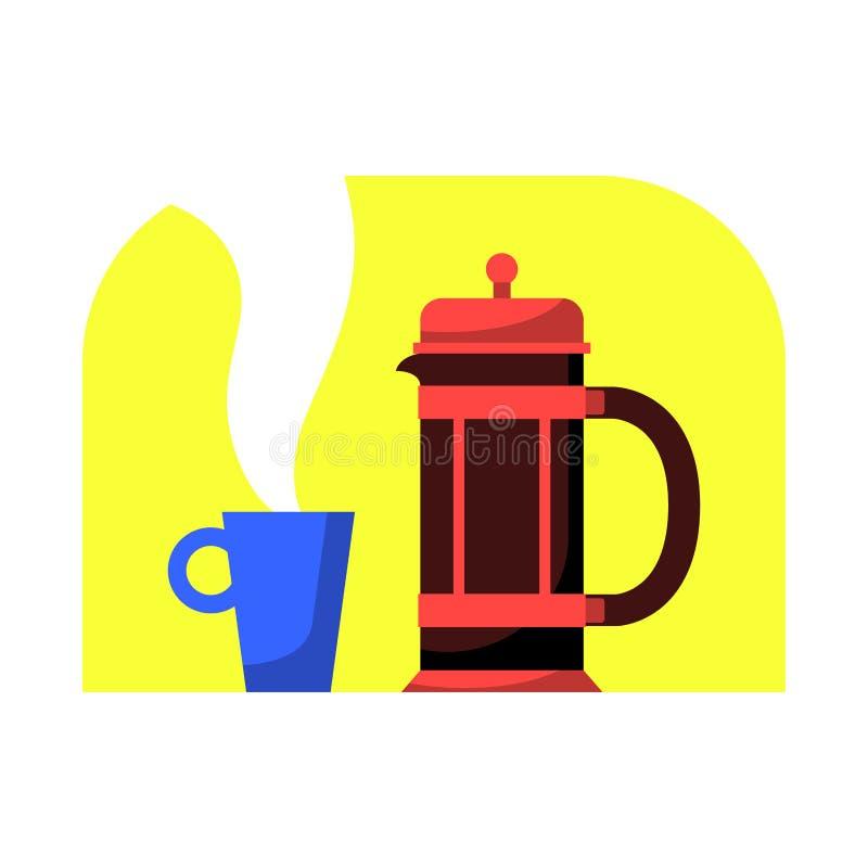 Γαλλικός Τύπος με την κούπα καφέ Σύγχρονη διανυσματική απεικόνιση κινούμενων σχεδίων ύφους επίπεδη Δοχείο καφέ για το εγχώριο εσω διανυσματική απεικόνιση