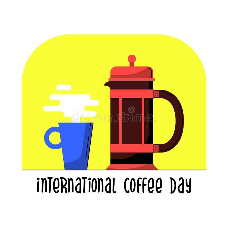 Γαλλικός Τύπος με την κούπα Σύγχρονη διανυσματική απεικόνιση κινούμενων σχεδίων ύφους επίπεδη Δοχείο καφέ για ευτυχής διεθνής ή ε απεικόνιση αποθεμάτων
