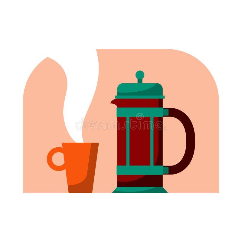 Γαλλικός Τύπος με την κούπα Σύγχρονη διανυσματική απεικόνιση κινούμενων σχεδίων ύφους επίπεδη Δοχείο καφέ για ευτυχής διεθνής ή ε ελεύθερη απεικόνιση δικαιώματος